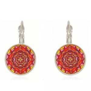 Mandala Glass Cabochon Lever Back Earrings Silver